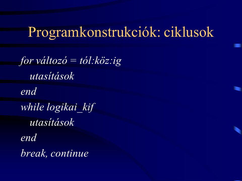Programkonstrukciók: ciklusok