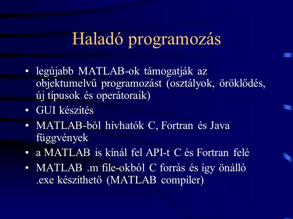 Haladó programozás legújabb MATLAB-ok támogatják az objektumelvű programozást (osztályok, öröklődés, új típusok és operátoraik)