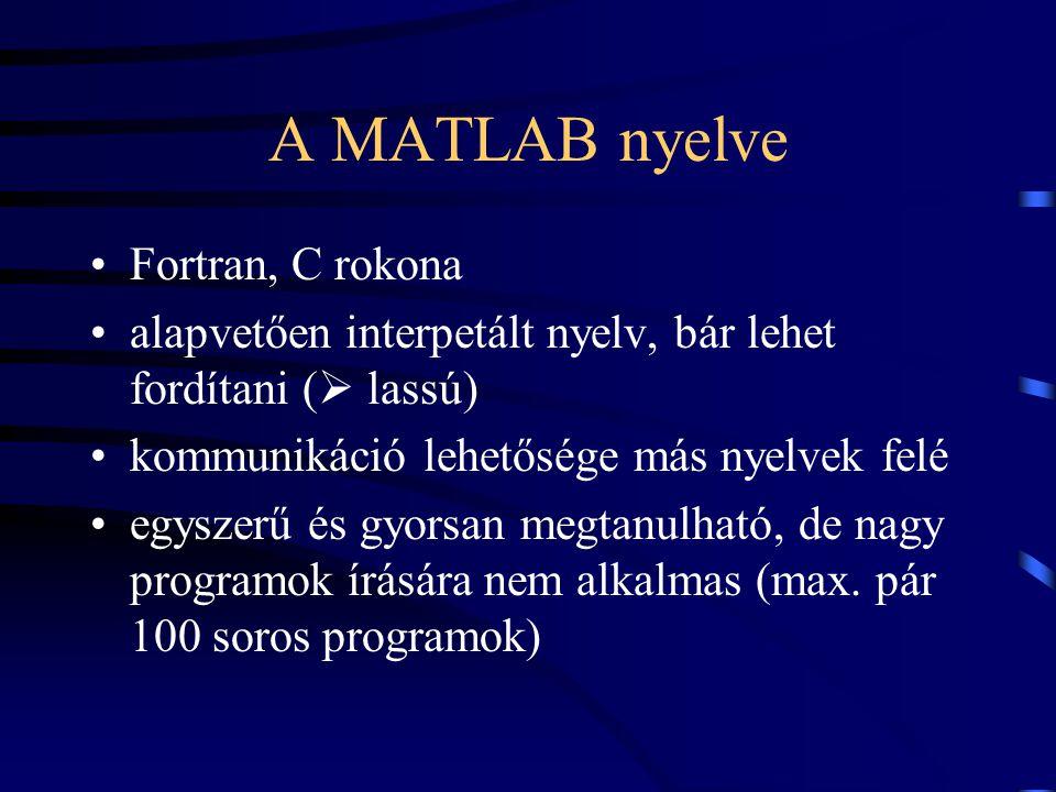 A MATLAB nyelve Fortran, C rokona