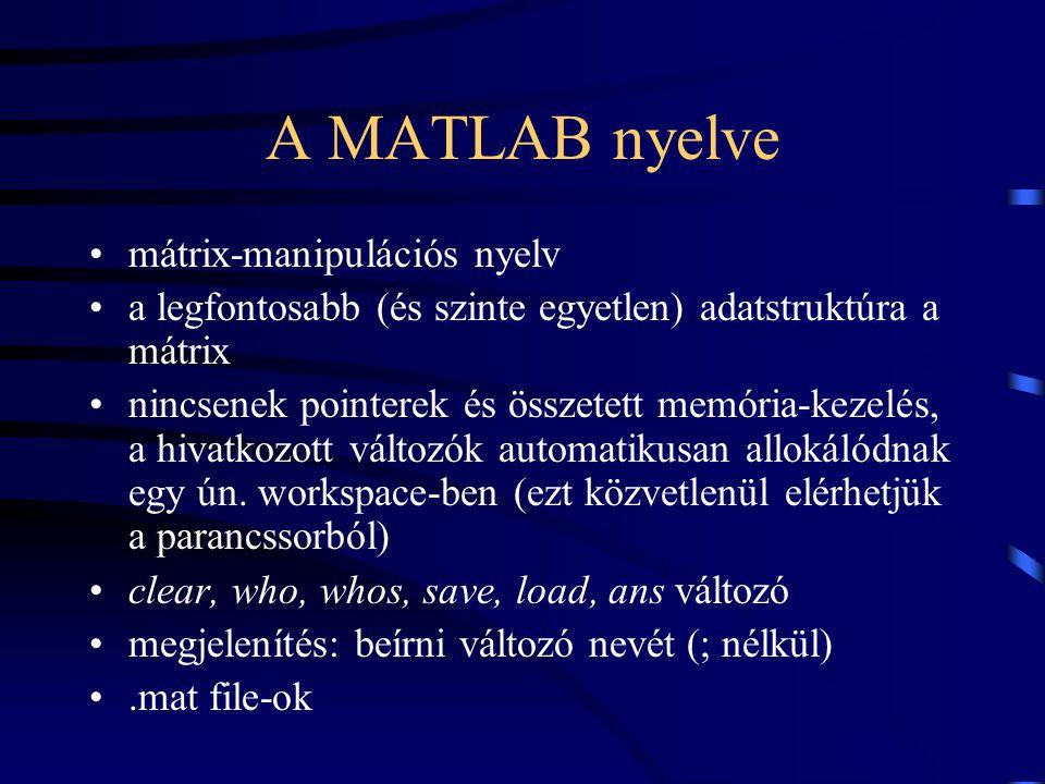 A MATLAB nyelve mátrix-manipulációs nyelv