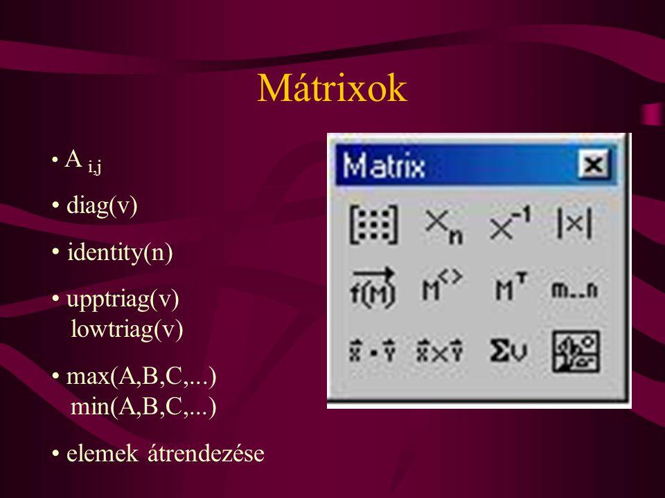 Mátrixok diag(v) identity(n) upptriag(v) lowtriag(v)