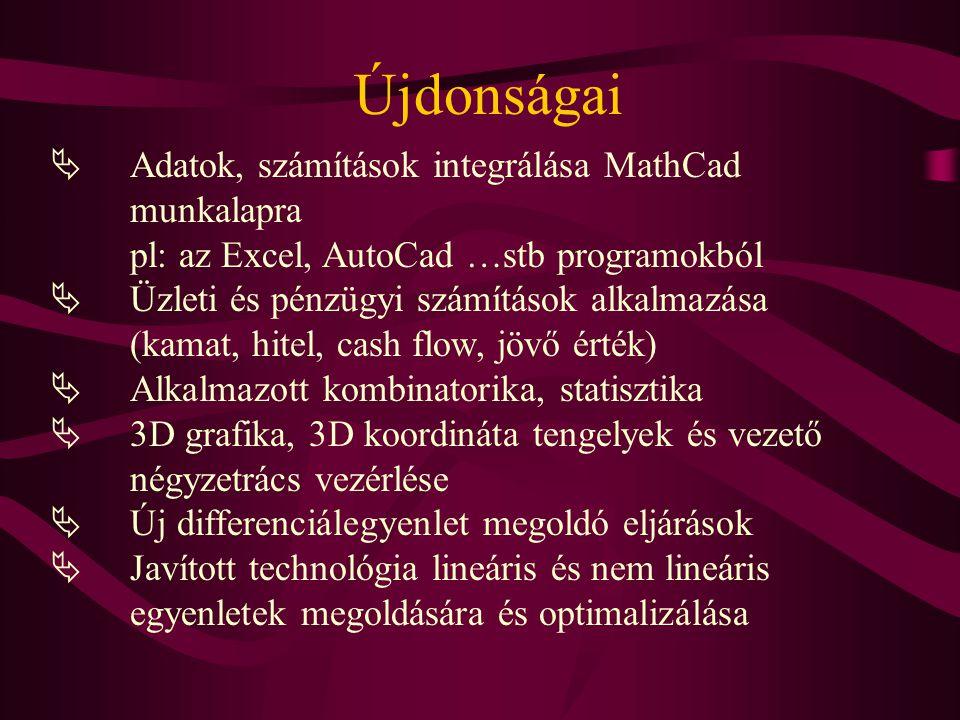 Újdonságai Adatok, számítások integrálása MathCad munkalapra pl: az Excel, AutoCad …stb programokból.