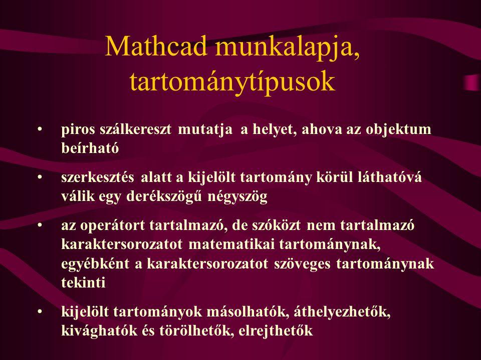 Mathcad munkalapja, tartománytípusok