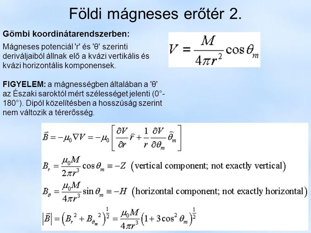 Földi mágneses erőtér 2. Gömbi koordinátarendszerben: