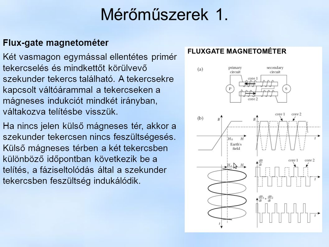 Mérőműszerek 1. Flux-gate magnetométer