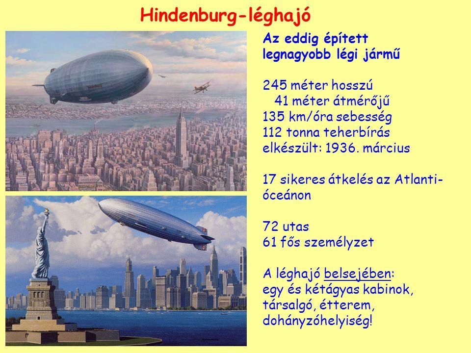 Hindenburg-léghajó Az eddig épített legnagyobb légi jármű