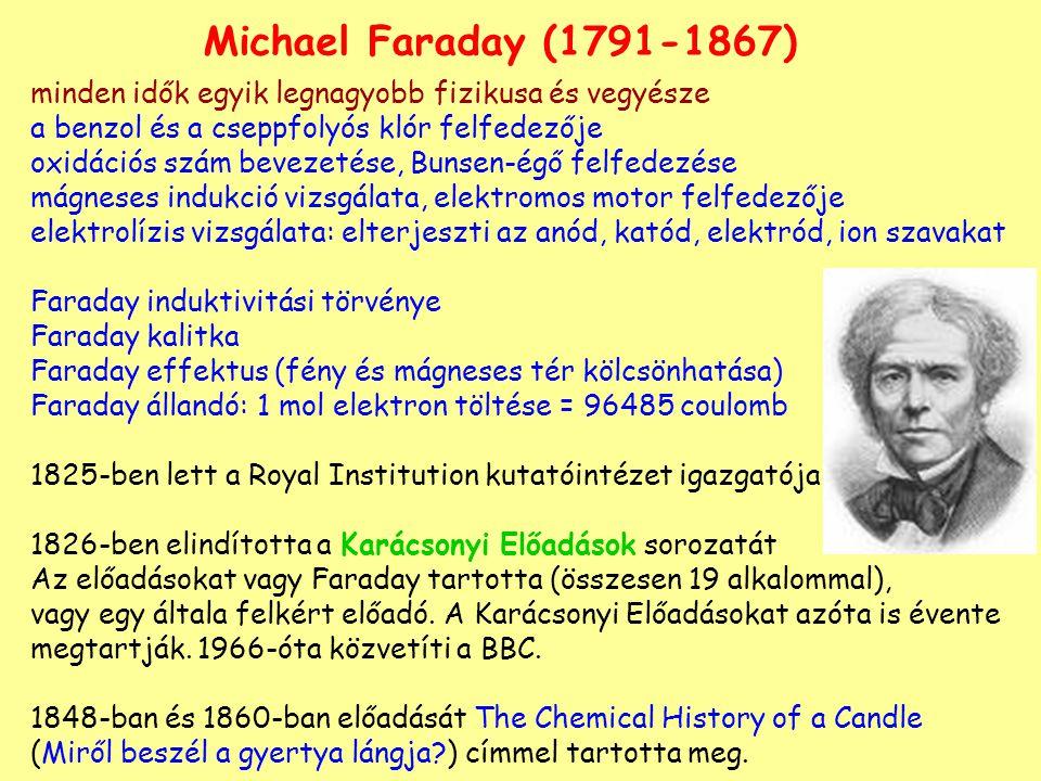 Michael Faraday (1791-1867) minden idők egyik legnagyobb fizikusa és vegyésze. a benzol és a cseppfolyós klór felfedezője.