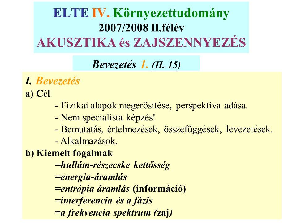 ELTE IV. Környezettudomány 2007/2008 II