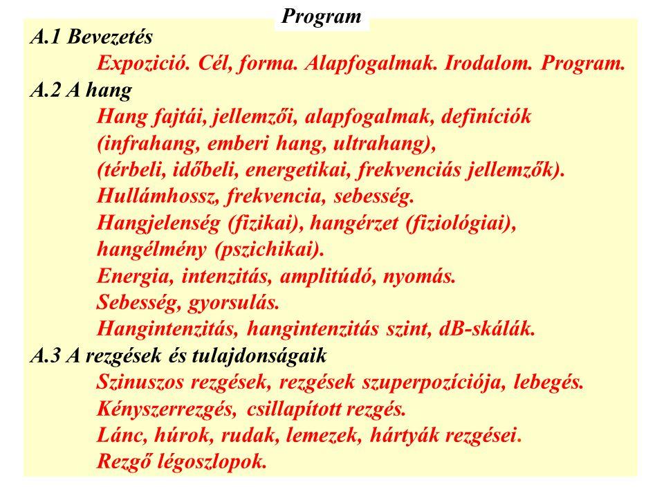 Program A.1 Bevezetés. Expozició. Cél, forma. Alapfogalmak. Irodalom. Program. A.2 A hang. Hang fajtái, jellemzői, alapfogalmak, definíciók.