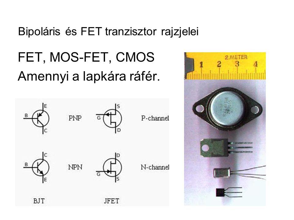 Bipoláris és FET tranzisztor rajzjelei