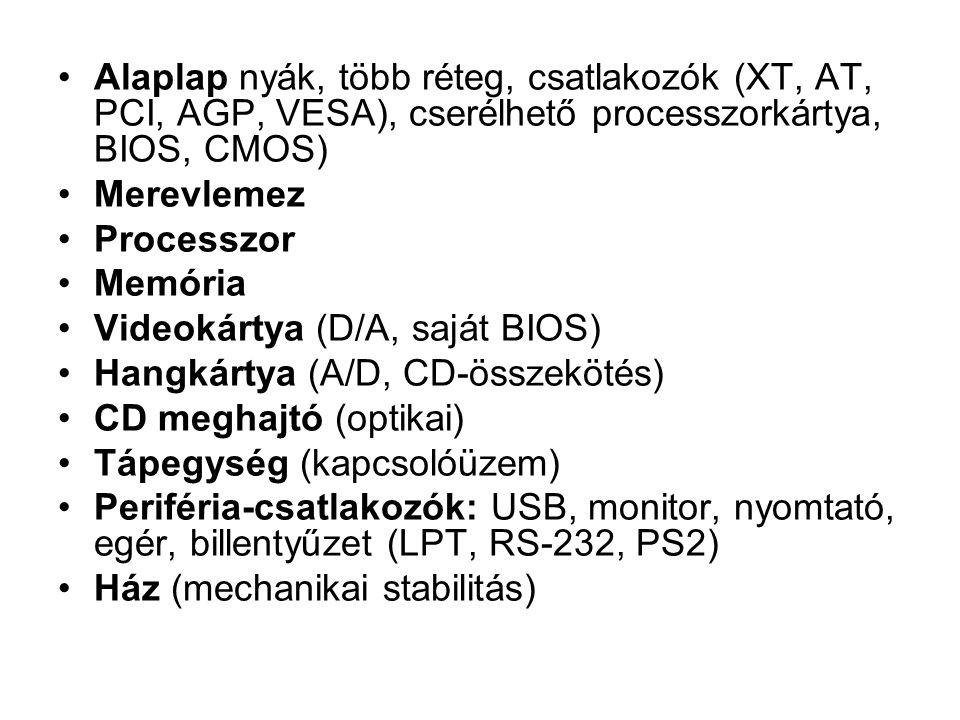 Alaplap nyák, több réteg, csatlakozók (XT, AT, PCI, AGP, VESA), cserélhető processzorkártya, BIOS, CMOS)