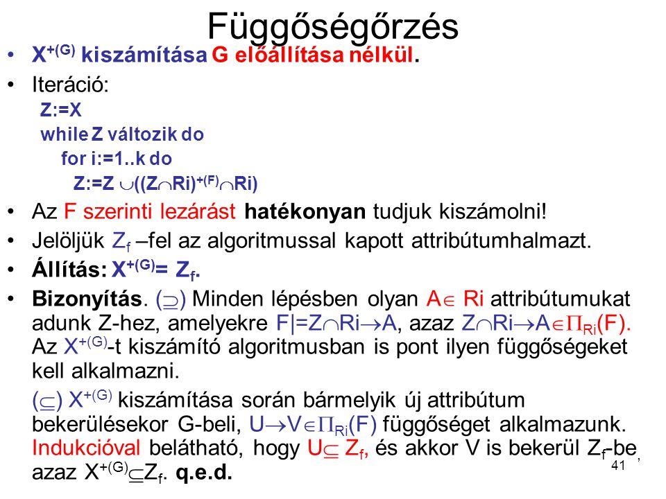 Függőségőrzés X+(G) kiszámítása G előállítása nélkül. Iteráció: