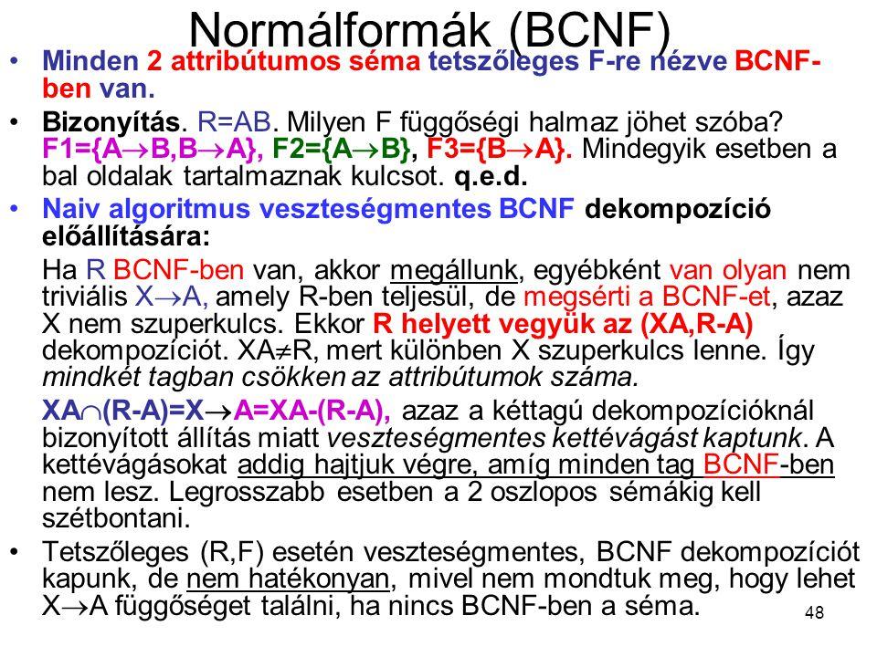 Normálformák (BCNF) Minden 2 attribútumos séma tetszőleges F-re nézve BCNF-ben van.