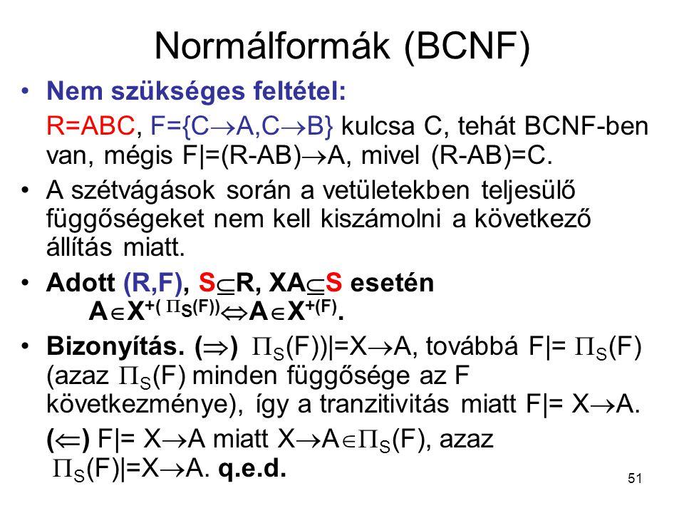Normálformák (BCNF) Nem szükséges feltétel: