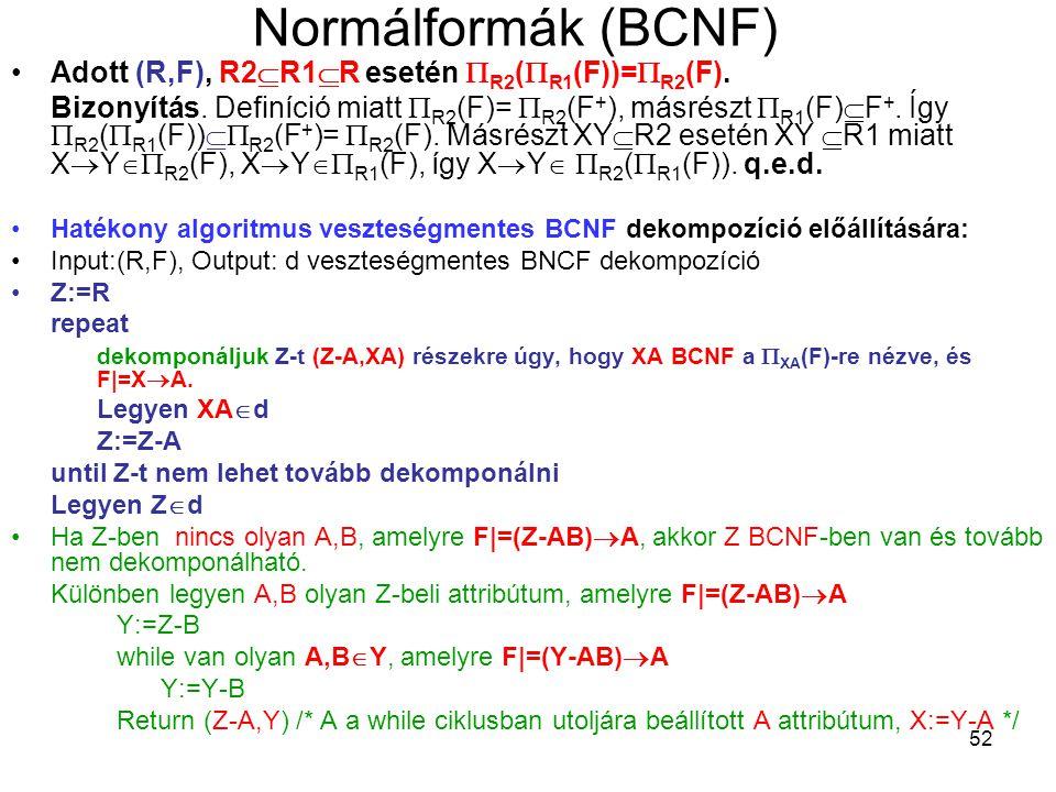 Normálformák (BCNF) Adott (R,F), R2R1R esetén R2(R1(F))=R2(F).
