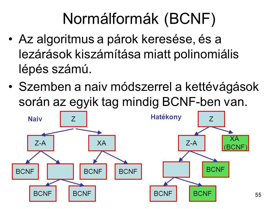 Normálformák (BCNF) Az algoritmus a párok keresése, és a lezárások kiszámítása miatt polinomiális lépés számú.