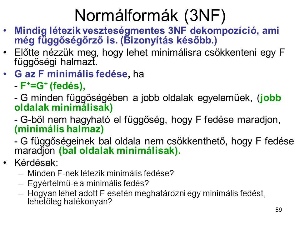 Normálformák (3NF) Mindig létezik veszteségmentes 3NF dekompozíció, ami még függőségőrző is. (Bizonyítás később.)