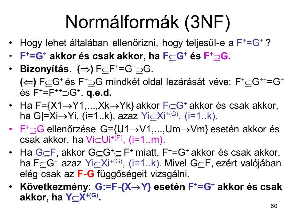 Normálformák (3NF) Hogy lehet általában ellenőrizni, hogy teljesül-e a F+=G+ F+=G+ akkor és csak akkor, ha FG+ és F+G.