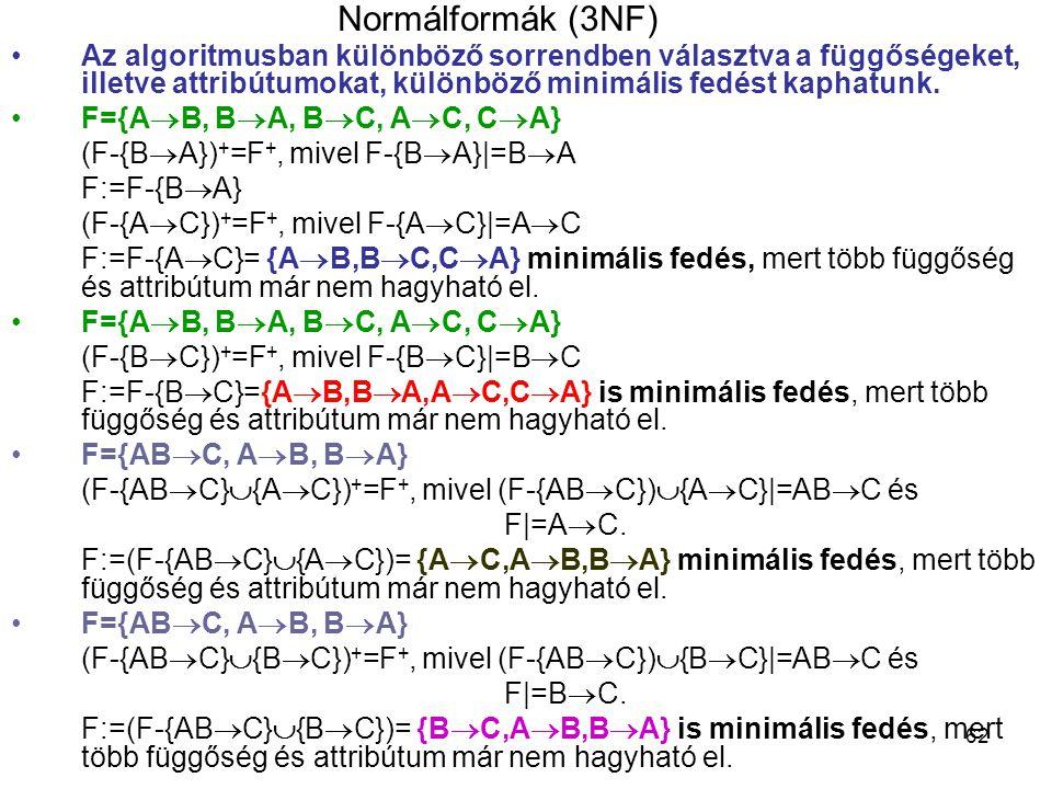 Normálformák (3NF) Az algoritmusban különböző sorrendben választva a függőségeket, illetve attribútumokat, különböző minimális fedést kaphatunk.