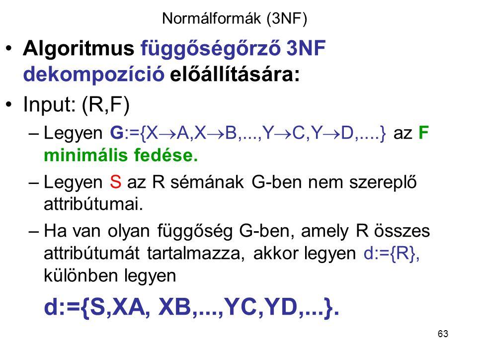 Normálformák (3NF) Algoritmus függőségőrző 3NF dekompozíció előállítására: Input: (R,F) Legyen G:={XA,XB,...,YC,YD,....} az F minimális fedése.