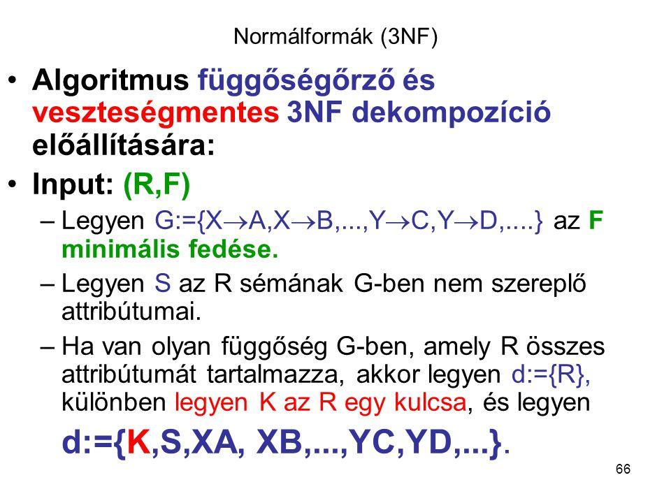 Normálformák (3NF) Algoritmus függőségőrző és veszteségmentes 3NF dekompozíció előállítására: Input: (R,F)