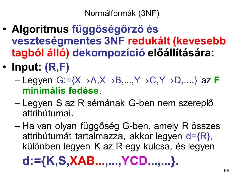 Normálformák (3NF) Algoritmus függőségőrző és veszteségmentes 3NF redukált (kevesebb tagból álló) dekompozíció előállítására: