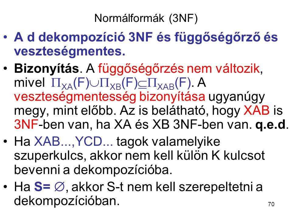 A d dekompozíció 3NF és függőségőrző és veszteségmentes.