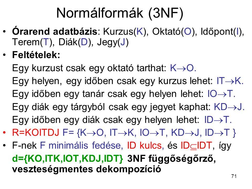 Normálformák (3NF) Órarend adatbázis: Kurzus(K), Oktató(O), Időpont(I), Terem(T), Diák(D), Jegy(J) Feltételek: