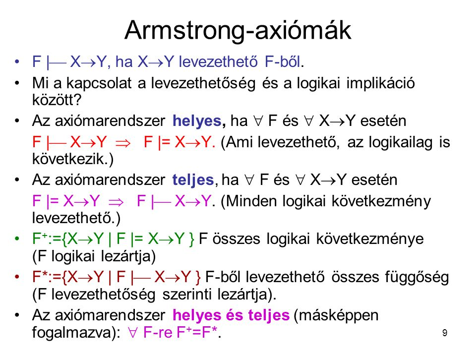 Armstrong-axiómák F| XY, ha XY levezethető F-ből.