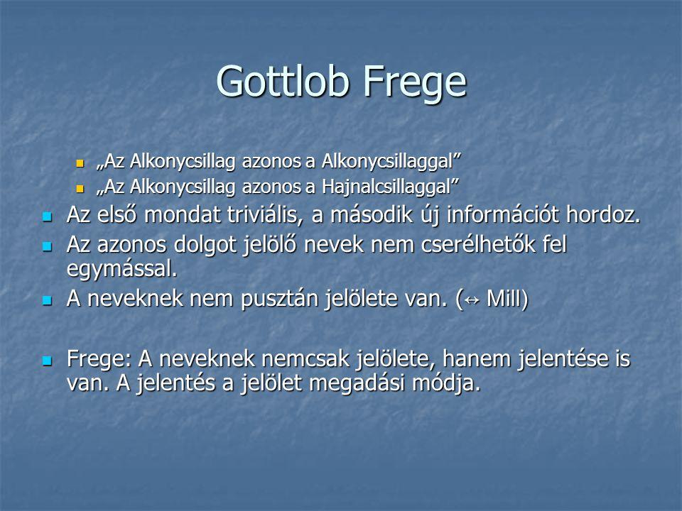 """Gottlob Frege """"Az Alkonycsillag azonos a Alkonycsillaggal """"Az Alkonycsillag azonos a Hajnalcsillaggal"""