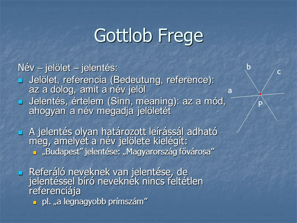 Gottlob Frege Név – jelölet – jelentés:
