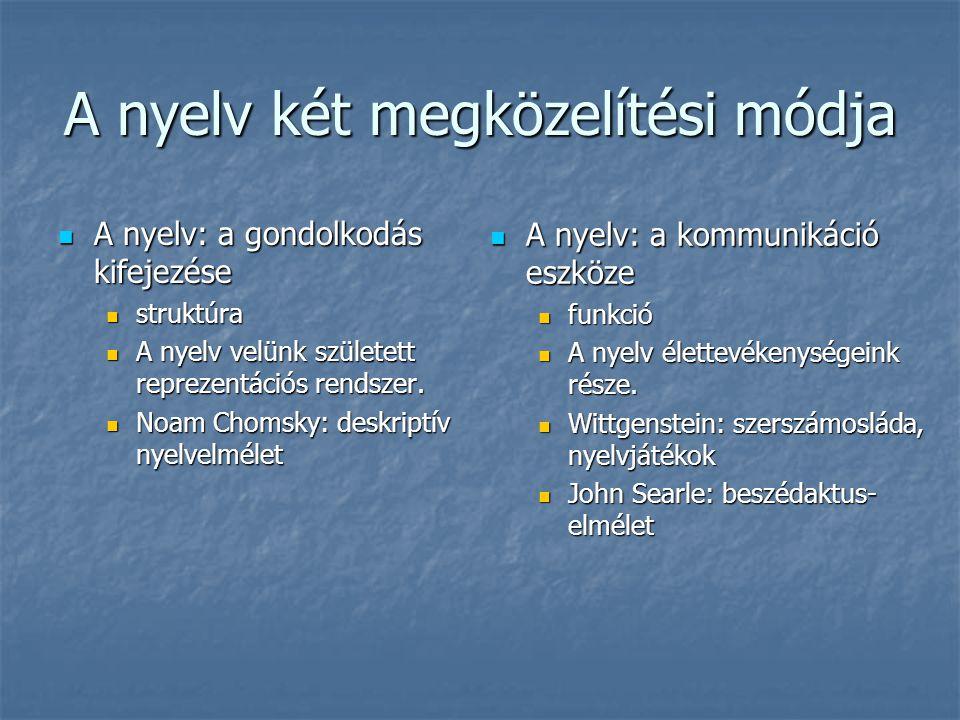 A nyelv két megközelítési módja