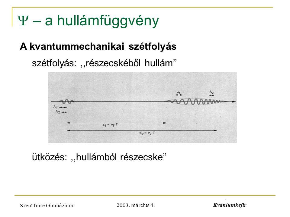  – a hullámfüggvény A kvantummechanikai szétfolyás