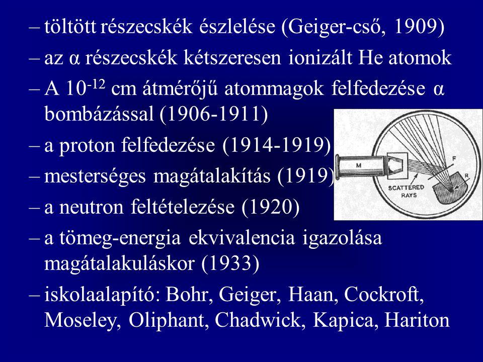 töltött részecskék észlelése (Geiger-cső, 1909)