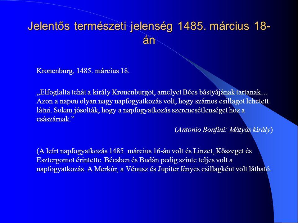 Jelentős természeti jelenség 1485. március 18-án