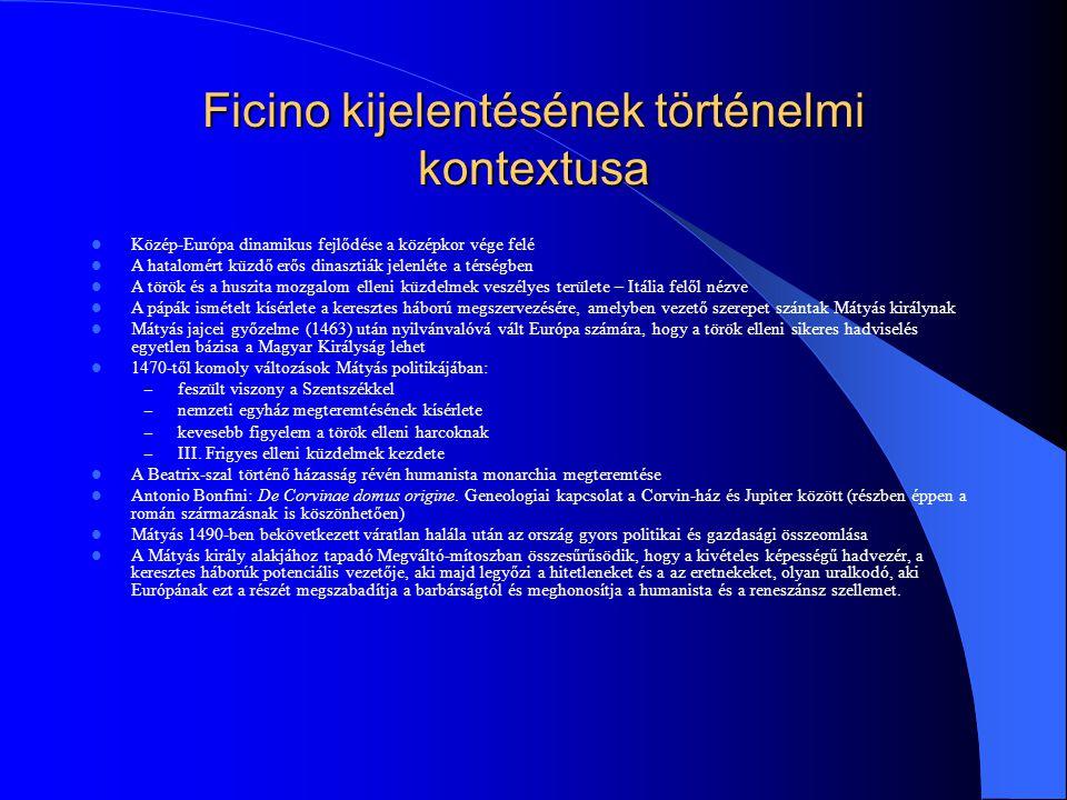 Ficino kijelentésének történelmi kontextusa