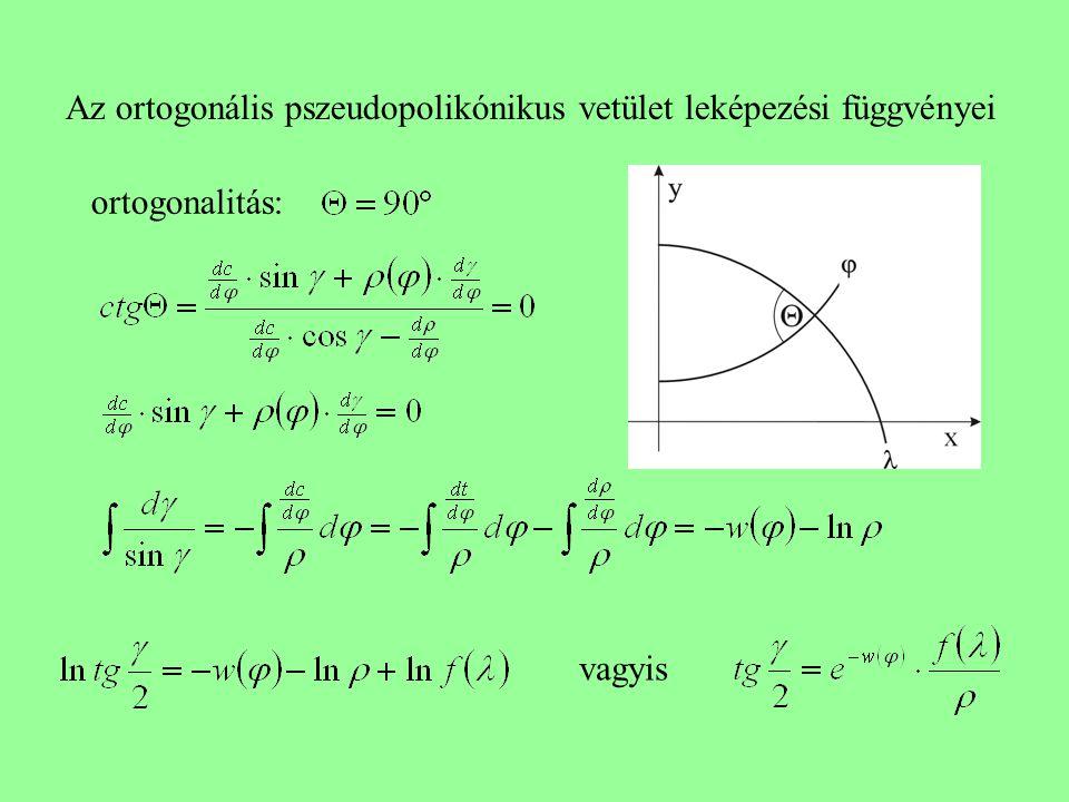 Az ortogonális pszeudopolikónikus vetület leképezési függvényei