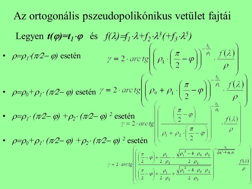 Az ortogonális pszeudopolikónikus vetület fajtái Legyen t()=t1 és f()f1+f23(+f35)