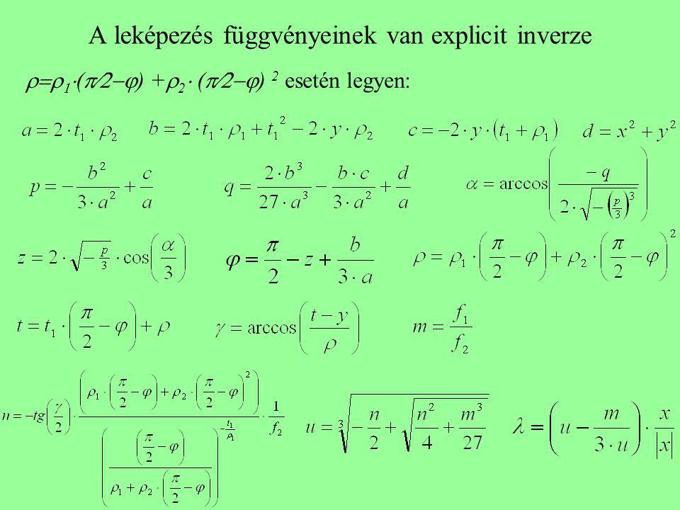 A leképezés függvényeinek van explicit inverze