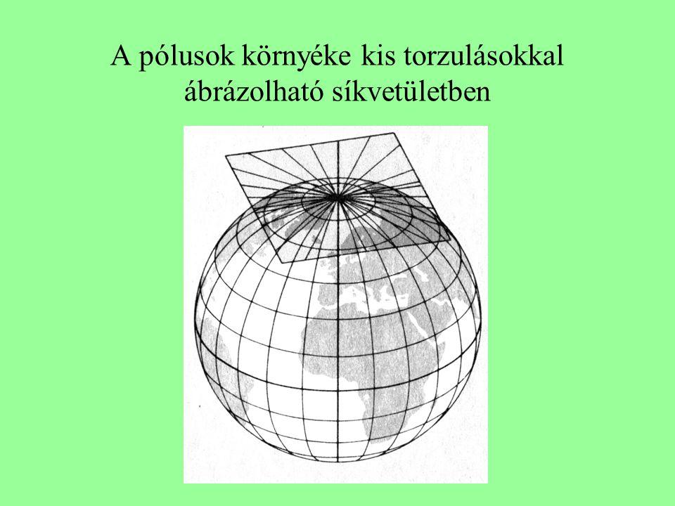 A pólusok környéke kis torzulásokkal ábrázolható síkvetületben