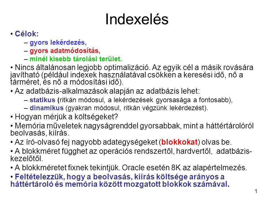 Indexelés Célok: gyors lekérdezés, gyors adatmódosítás, minél kisebb tárolási terület.
