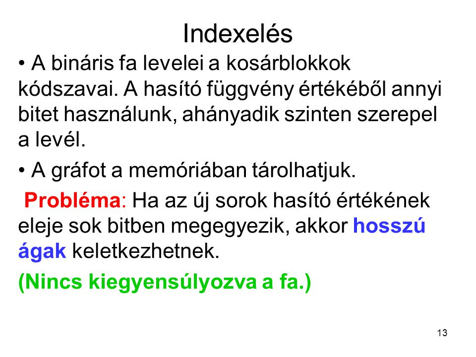 Indexelés A bináris fa levelei a kosárblokkok kódszavai. A hasító függvény értékéből annyi bitet használunk, ahányadik szinten szerepel a levél.