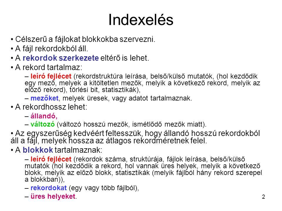 Indexelés Célszerű a fájlokat blokkokba szervezni.