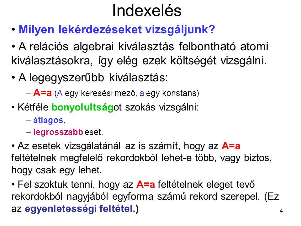 Indexelés Milyen lekérdezéseket vizsgáljunk