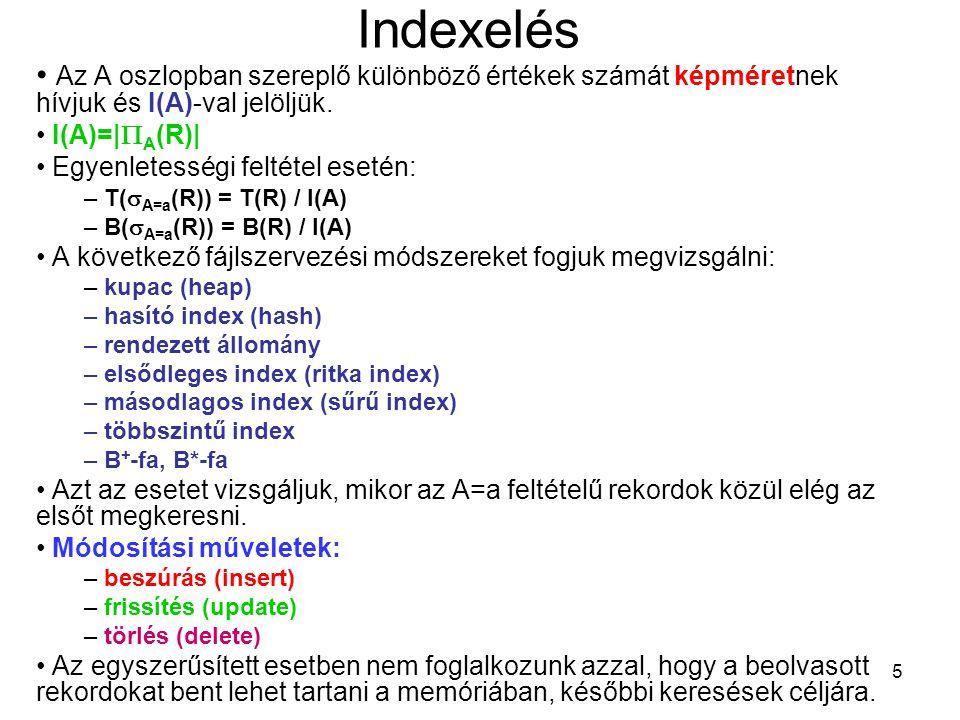 Indexelés Az A oszlopban szereplő különböző értékek számát képméretnek hívjuk és I(A)-val jelöljük.