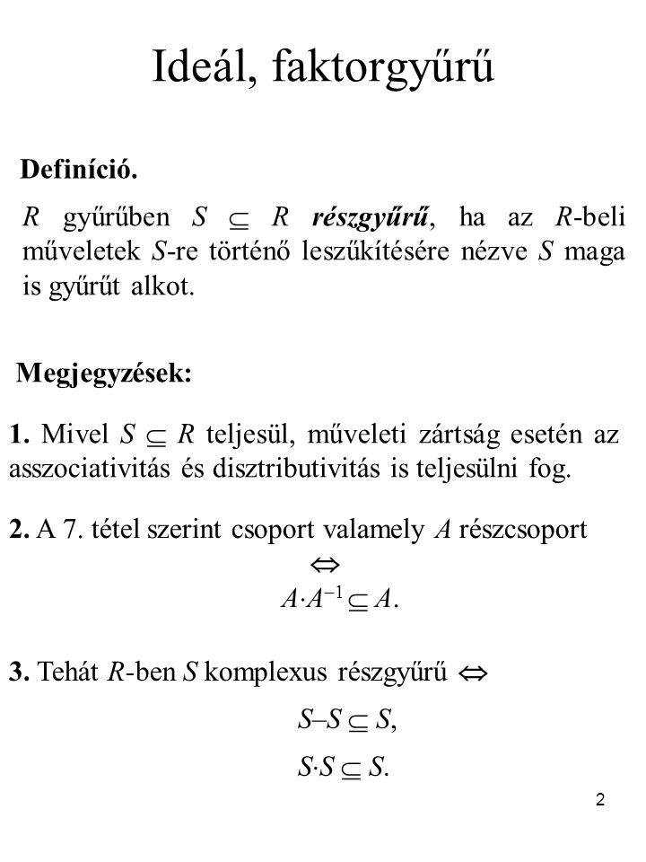 Ideál, faktorgyűrű Definíció.