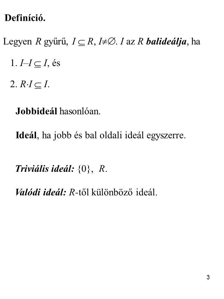 Definíció. Legyen R gyűrű, I  R, I. I az R balideálja, ha. 1. I–I  I, és. 2. RI  I. Jobbideál hasonlóan.