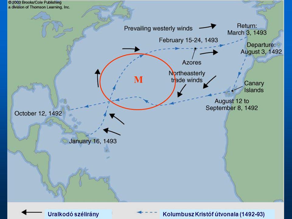 M Uralkodó szélirány Kolumbusz Kristóf útvonala (1492-93)