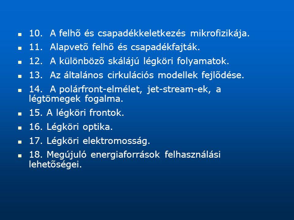 10. A felhõ és csapadékkeletkezés mikrofizikája.