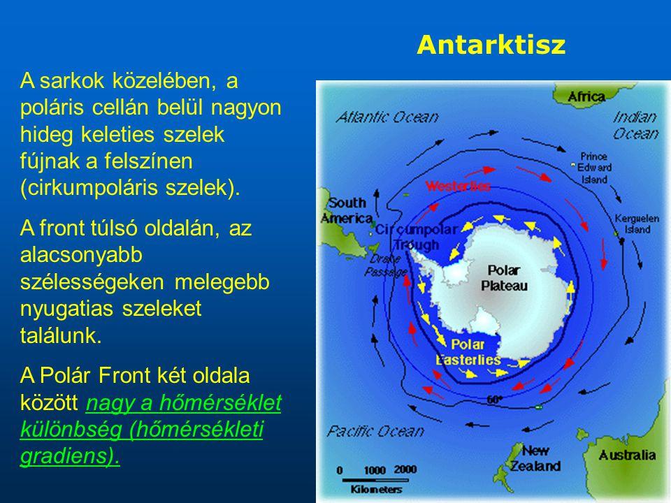 A sarkok közelében, a poláris cellán belül nagyon hideg keleties szelek fújnak a felszínen (cirkumpoláris szelek).